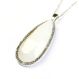 Double Strand White Stone Necklace With Crystals